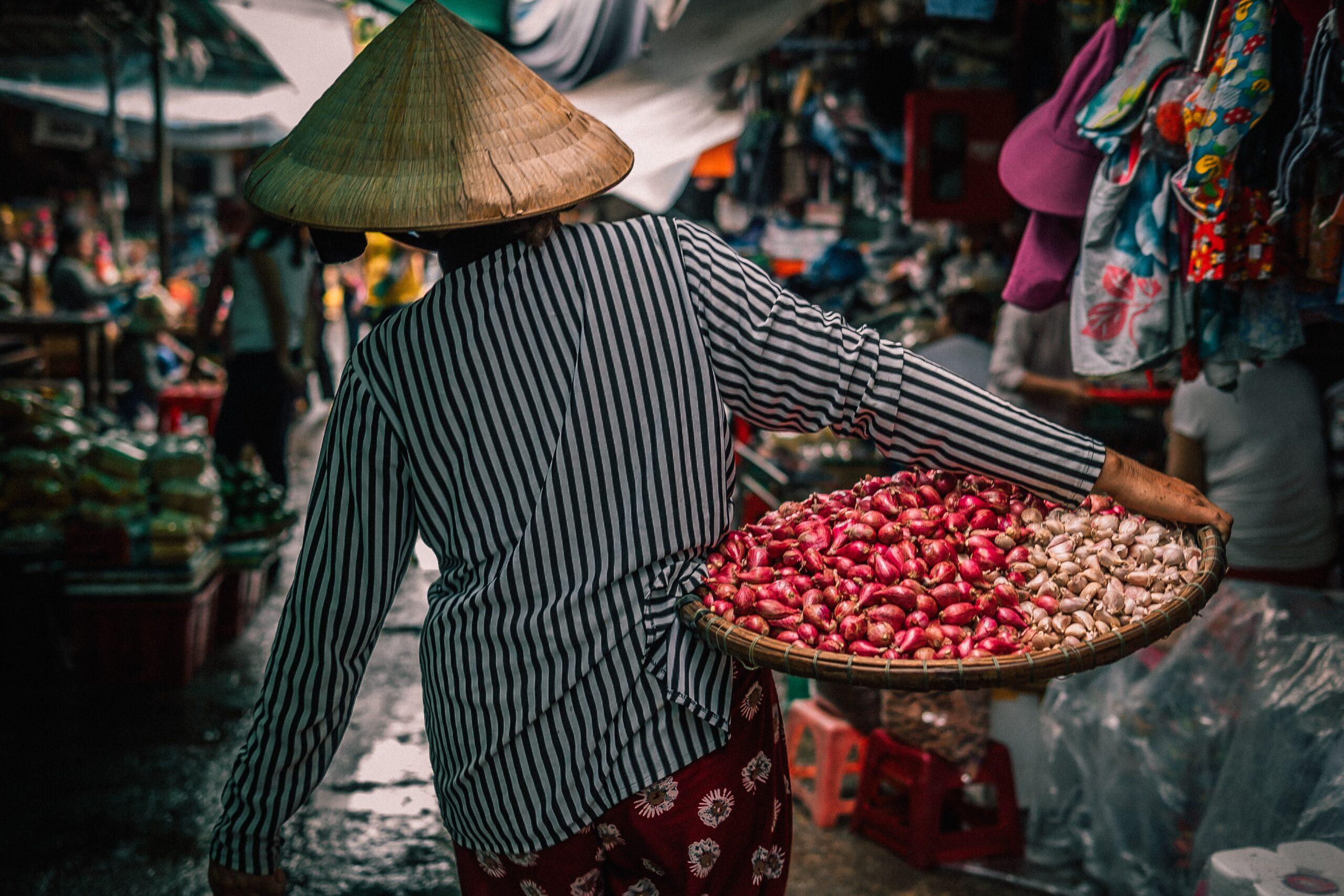 Woman carrying food basket